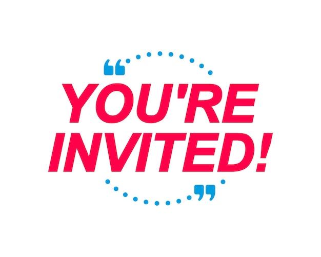 Vous êtes invités étiquettes bulles avec autocollant marketing bannière pour site web de médias sociaux