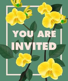 Vous êtes lettrage avec des orchidées jaunes dans le cadre sur fond bleu.