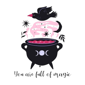 Vous êtes plein de carte de motivation magique. chaudron magique de potion.