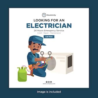 Vous recherchez un design de bannière d'électricien pour les médias sociaux