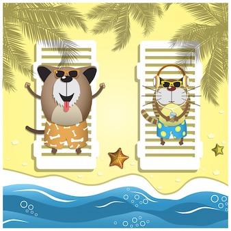 Voyage animaux de compagnie. avec des animaux domestiques sur la plage de sable