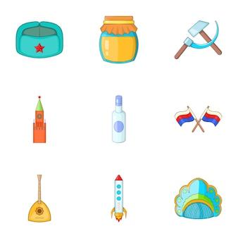 Voyage au jeu d'icônes de la russie, style cartoon