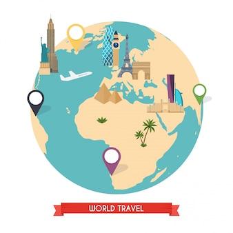 Voyage au monde. voyage dans le monde. voyage en voiture.