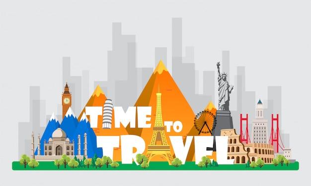 Voyage au monde. voyage en voiture. grand ensemble de monuments célèbres du monde. temps de voyage, tourisme, vacances d'été. différents types de voyages