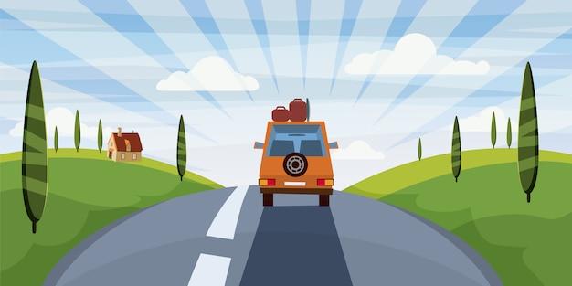 Voyage autoroute été, route, voiture, paysage mignon, style cartoon