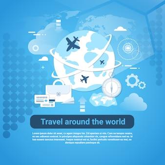 Voyage autour de la bannière web mondiale avec espace de copie sur fond bleu