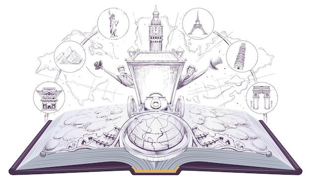 Voyage autour du monde en 80 jours livre ouvert