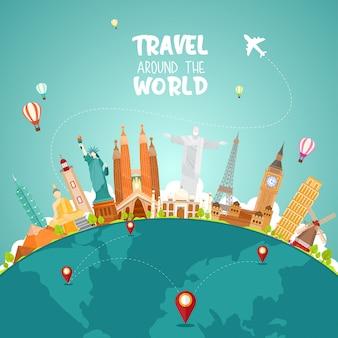 Voyage autour du monde illistration