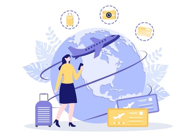 Voyage autour du monde illustration vectorielle fond. time to visits icon monuments et autres attractions touristiques du pays