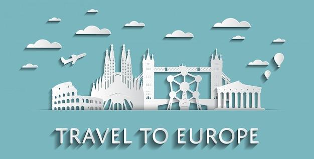 Voyage aux silhouettes de paysage urbain concept europe