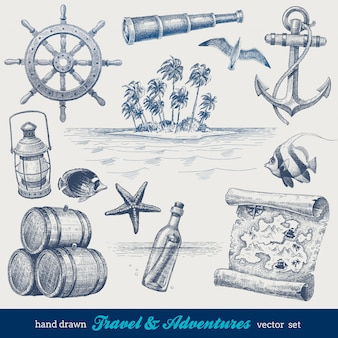 Voyage et aventures ensemble dessiné à la main