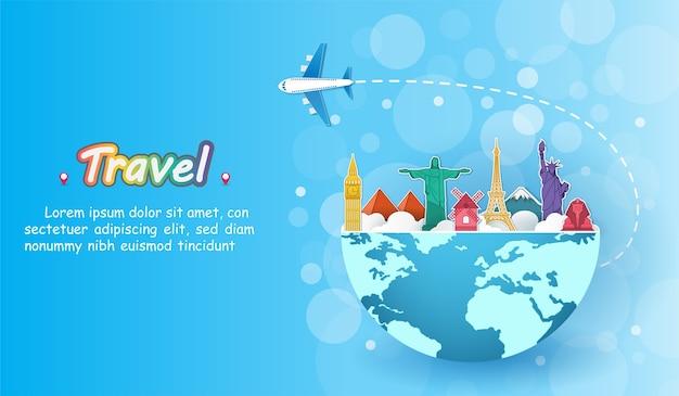 Voyage en avion dans le monde entier.