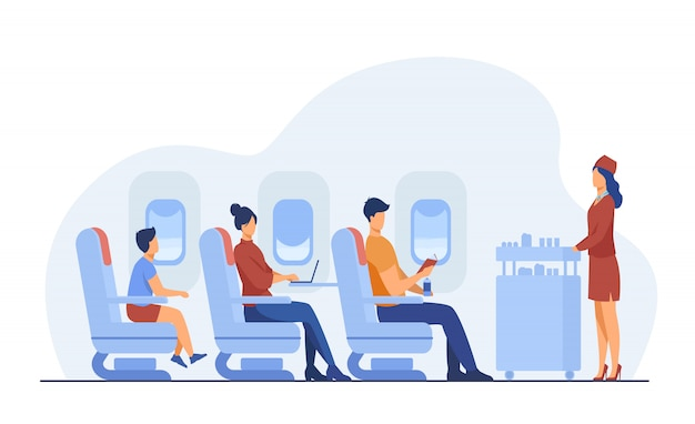 Voyage en avion avec illustration plat confort