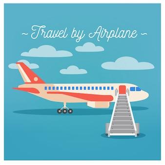 Voyage en avion. industrie du tourisme. voyage en avion. mode de transport. illustration vectorielle style plat