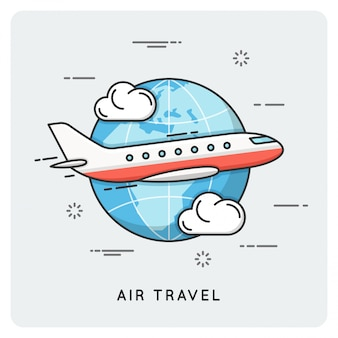 Voyage en avion. ligne fine .