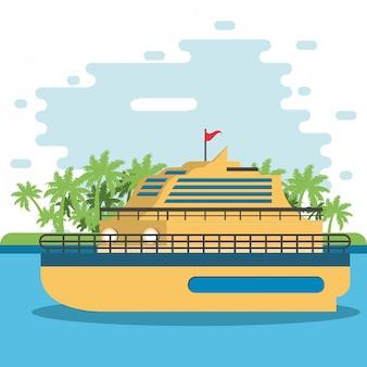 Voyage en bateau sur la rivière ferris