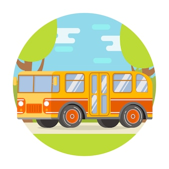 Voyage de campagne dans un bus vintage rétro.