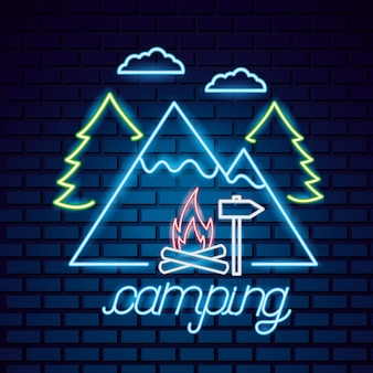 Voyage de camping dans le style néon