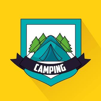 Voyage de camping dans le style plat