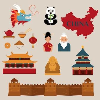 Voyage à la chine icônes vectorielles illustration