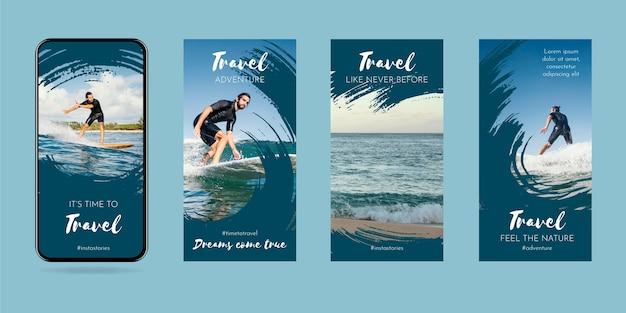 Voyage collection d'histoires instagram avec des coups de pinceau