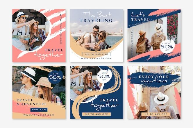 Voyage collection de publications instagram avec des coups de pinceau