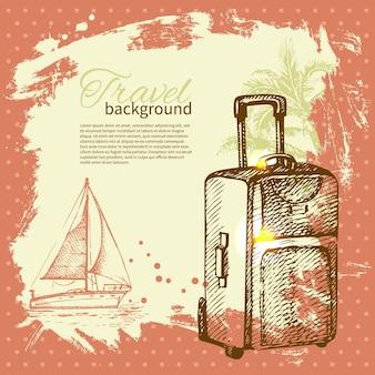 Voyage design tropical vintage dessiné à la main. fond rétro splash blob