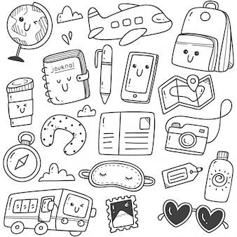 Voyage dessiné main mignon doodles art de la ligne kawaii