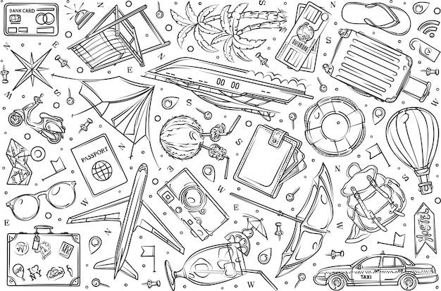 Voyage dessiné à la main, vacances fond doodle