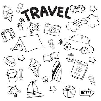 Voyage dessinés à la main doodles vector design sur fond blanc.