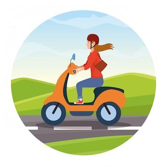 Voyage d'équitation en dessin animé de scooter