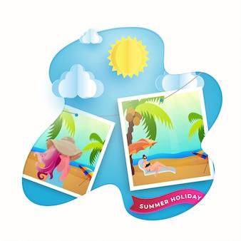 Voyage d'été en appréciant les photos féminines avec des nuages de soleil et de papier