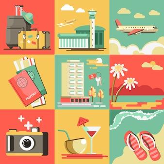 Voyage d'été ou vacances vacances vecteur plage de l'océan.
