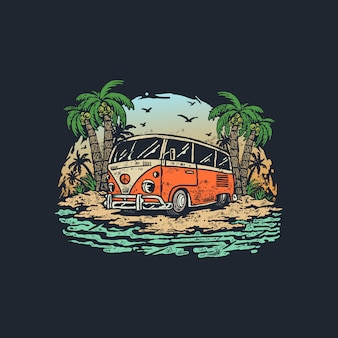 Voyage d'été vintage old wagon car illustration