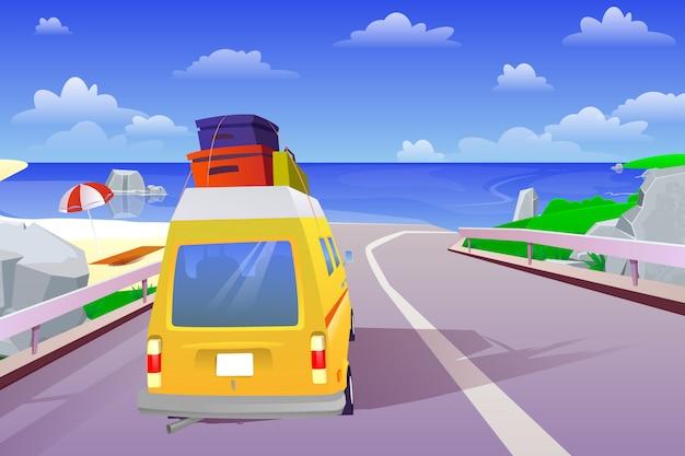Voyage d'été en voiture à la mer le week-end