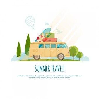 Voyage d'été, voyage en voiture, voyage dans le monde, voyage, illustration touristique