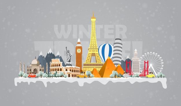 Voyage d'hiver au monde. vacances de noël. voyage en voiture. grand ensemble de monuments célèbres du monde.