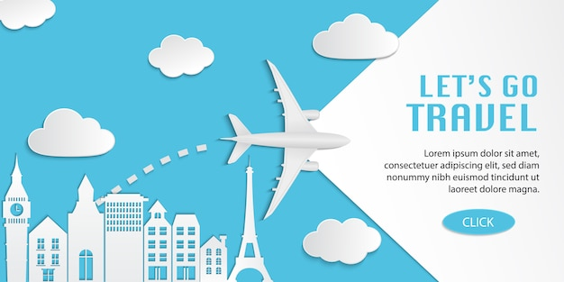 Voyage infographique, illustration de conception web de voyage avec avion survolant la ville sur fond bleu