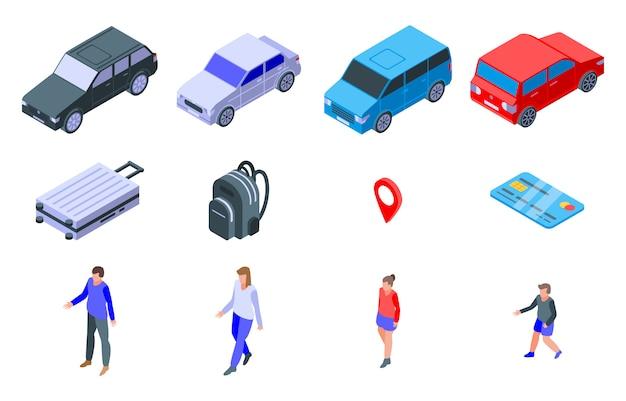 Voyage sur le jeu d'icônes de voiture, style isométrique