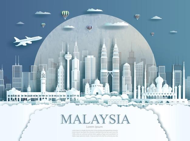 Voyage Malaisie Monument à Kuala Lumpur Ville Bâtiment Moderne En Fond De Texture De Cercle. Voyage D'affaires Vecteur Premium