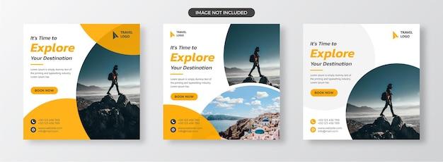 Voyage sur les médias sociaux et bannière web ou modèle de bannière de vente de flyer ou vacances de vacances de tournée vecteur premium