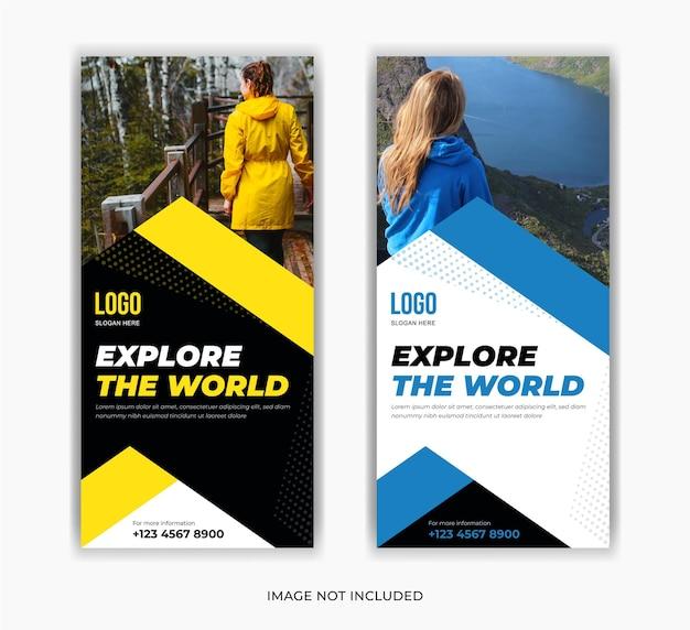 Voyage sur les médias sociaux post roll up stand conception de modèle de bannière