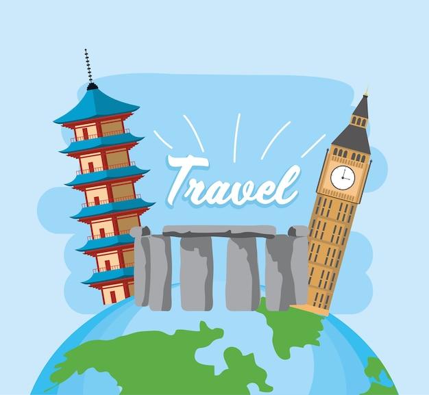 Voyage mondial d'exploration avec passeport et billet