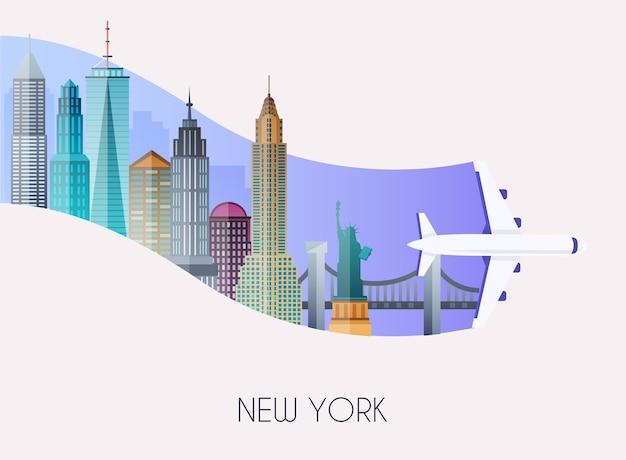 Voyage à new york illustration