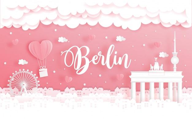 Voyage de noces et concept de la saint-valentin avec voyage à berlin, en allemagne