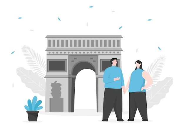 Voyage à paris ou en france vector illustration background. il est temps de visiter pour voir les paysages magnifiques et romantiques de la tour eiffel ou d'un autre lieu emblématique