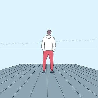 Voyage personnel et concept de voyage seul. personne qui regarde la vue.