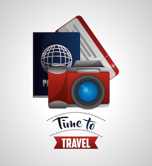 Voyage photo appareil photo passeport et billet vector illustration