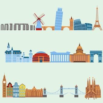 Voyage en plein air euro voyage vacances voyager concept illustration design plat.