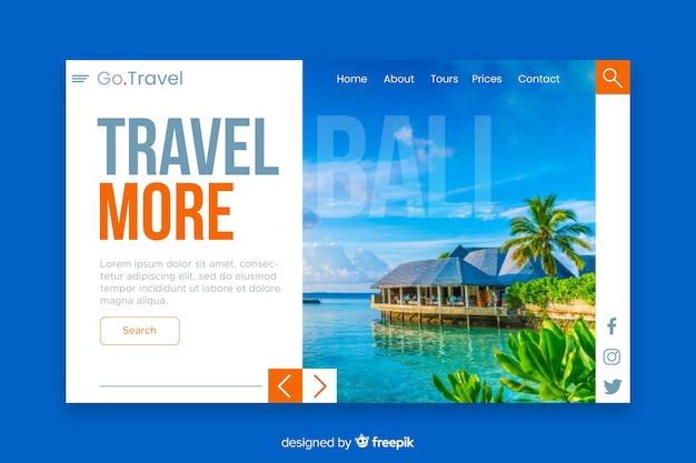 Voyage plus de page de destination avec photo